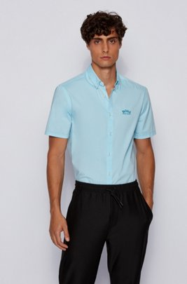 Short-sleeved regular-fit button-down shirt in stretch poplin, Turquoise