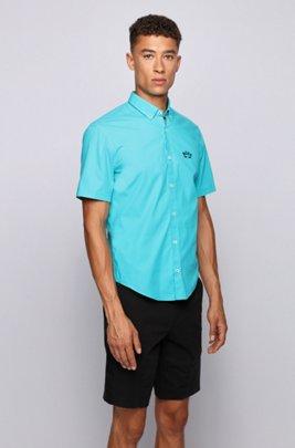 Regular-Fit Kurzarm-Hemd aus Stretch-Popeline mit Button-Down-Kragen, Hellblau