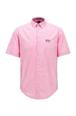 Regular-Fit Kurzarm-Hemd aus Stretch-Popeline mit Button-Down-Kragen, Pink
