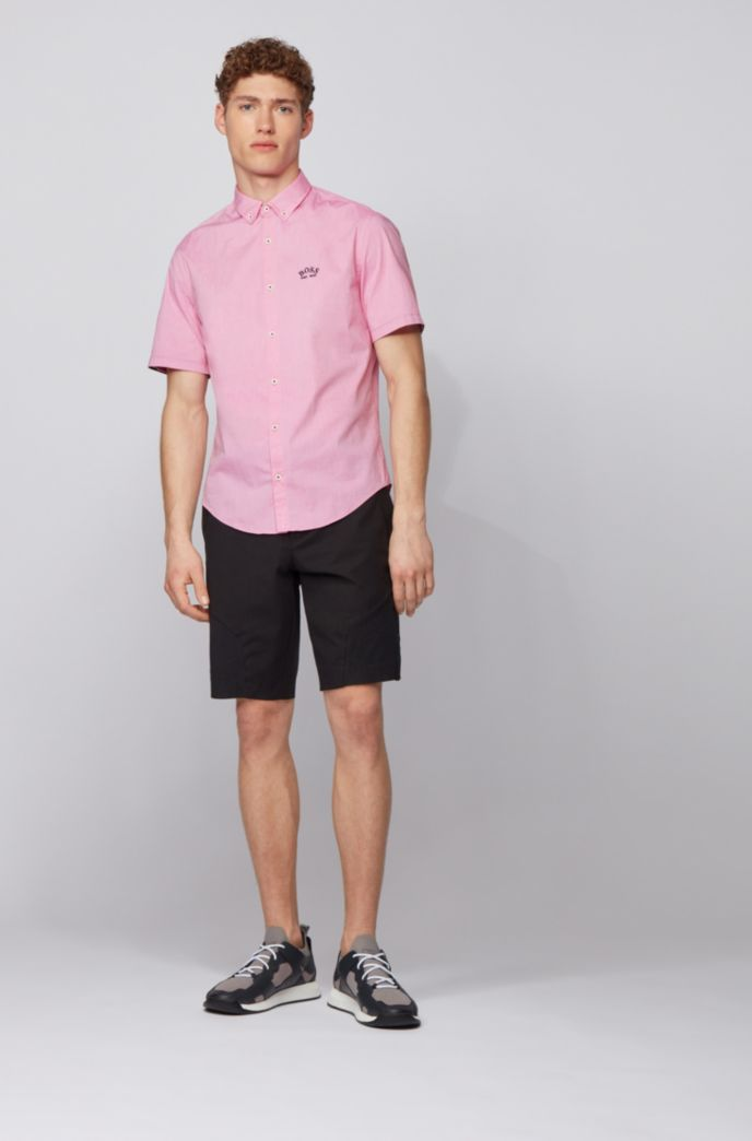Short-sleeved regular-fit button-down shirt in stretch poplin