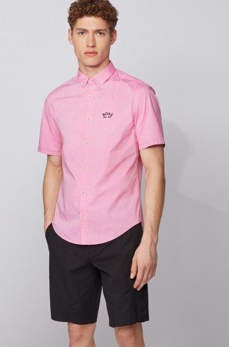 Short-sleeved regular-fit button-down shirt in stretch poplin, Pink