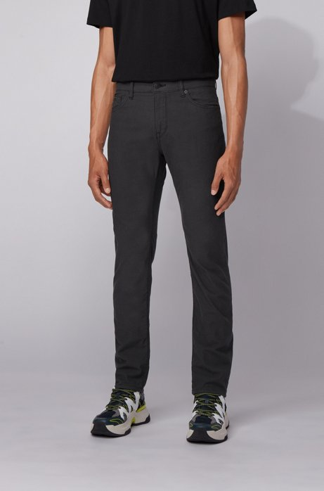 Regular-fit jeans in structured stretch denim, Black