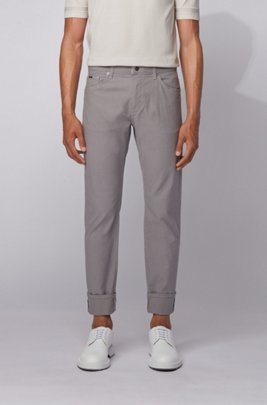 Regular-fit jeans in structured stretch denim, Light Grey