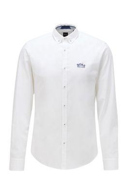 Regular-Fit Button-Down-Hemd aus elastischer Baumwoll-Popeline, Weiß