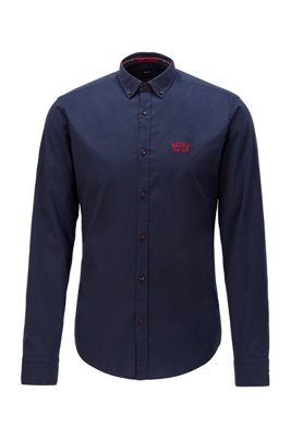 Regular-fit button-down shirt in stretch-cotton poplin, Dark Blue