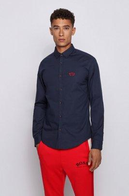 Regular-Fit Button-Down-Hemd aus elastischer Baumwoll-Popeline, Dunkelblau