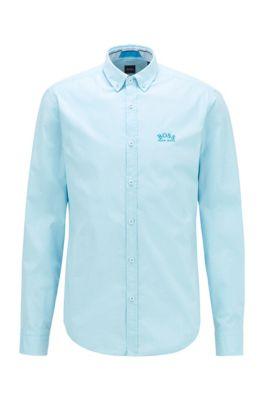 Regular-Fit Button-Down-Hemd aus elastischer Baumwoll-Popeline, Hellblau