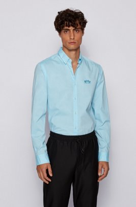 Regular-Fit Button-Down-Hemd aus elastischer Baumwoll-Popeline, Hellblau