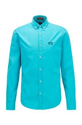 Regular-fit overhemd met buttondownkraag in popeline van stretchkatoen, Turkoois
