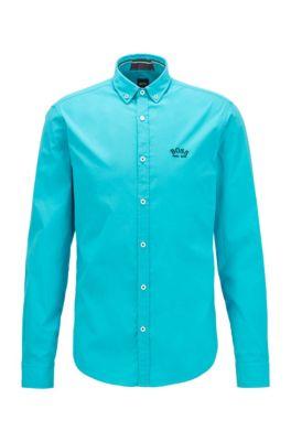 Regular-Fit Button-Down-Hemd aus elastischer Baumwoll-Popeline, Türkis