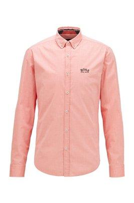 Regular-Fit Button-Down-Hemd aus elastischer Baumwoll-Popeline, Dunkelorange