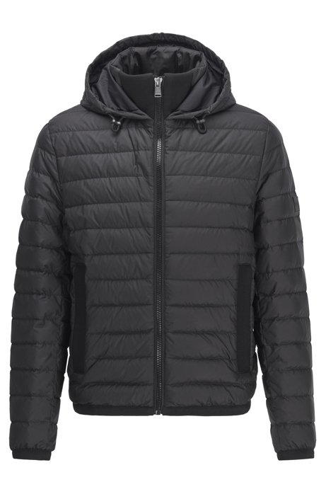 Water-repellent down jacket with pop-colour lining, Black