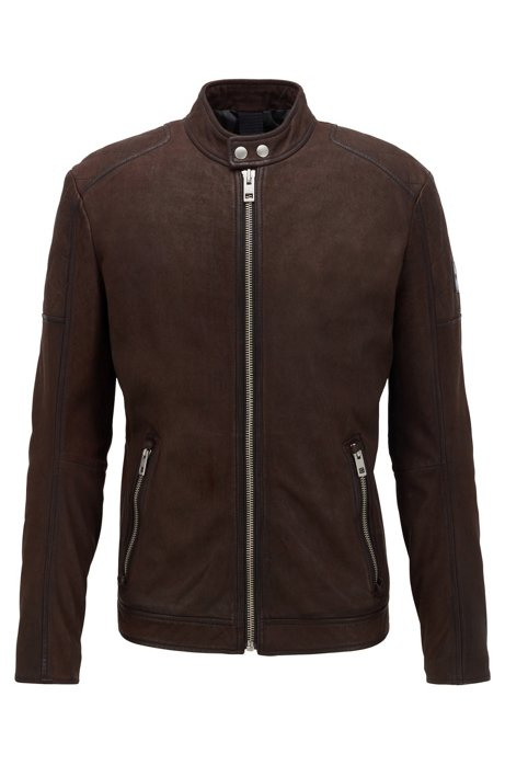 Leather jacket with quilted panels and zipped cuffs, Dark Brown