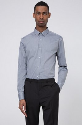Extra-slim-fit shirt with fil-á-fil structure, Black