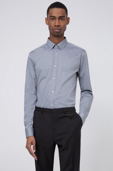 Extra Slim-Fit Hemd mit Fil-à-fil-Struktur, Schwarz