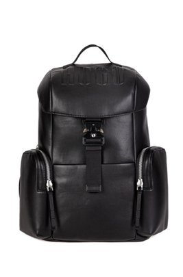Faux-leather backpack with embossed logo, ブラック