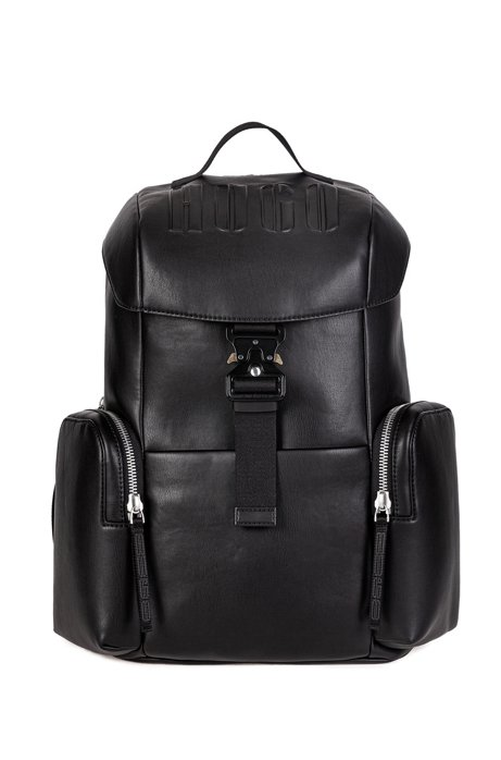 Faux-leather backpack with embossed logo, Black
