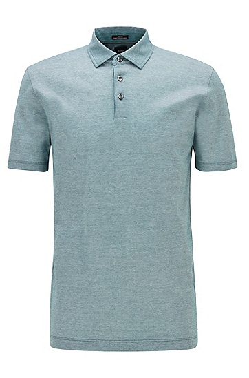 双色意大利棉修身 Polo 衫,  319_中绿色