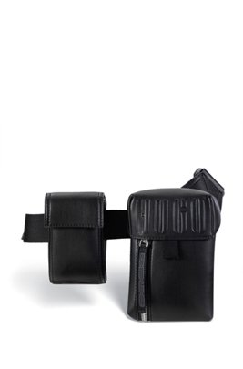 Faux-leather belt bag with embossed logo, Black