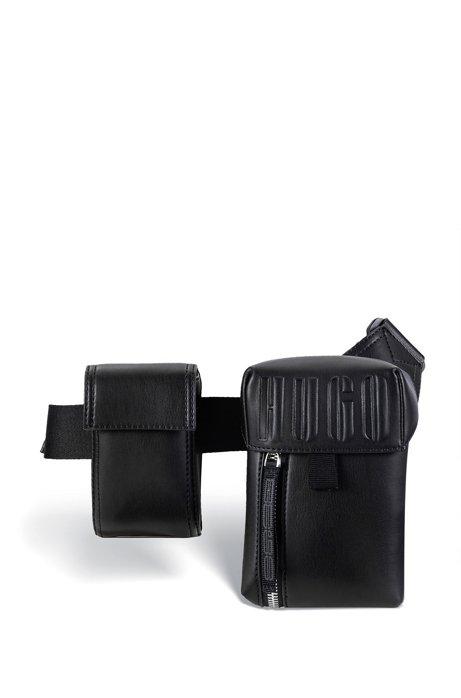 Gürteltasche aus Kunstleder mit Logo-Prägung, Schwarz