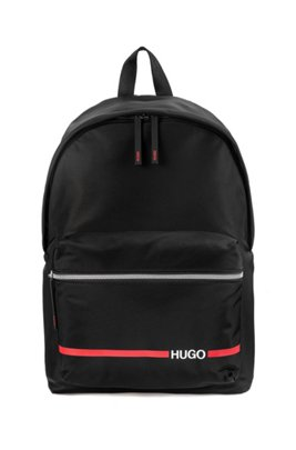 Nylon gabardine backpack with contrast logo and stripe, Black