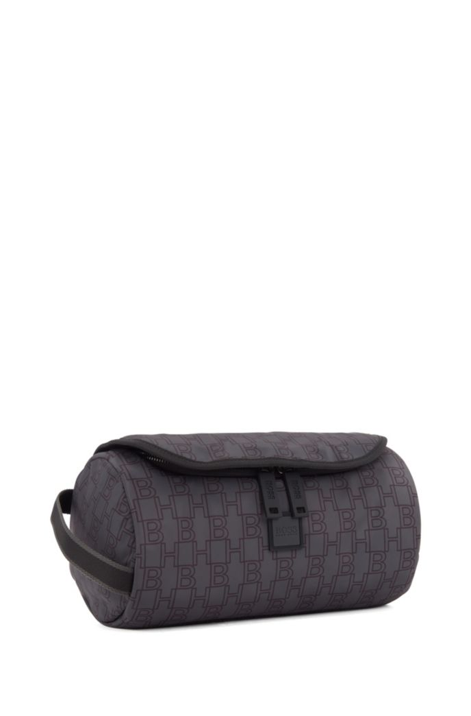 Monogram-print washbag in nylon with lateral handle