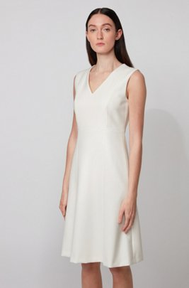 V-neck dress in double-faced Portuguese stretch fabric, White