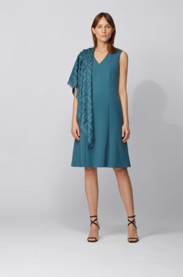 V-neck dress in double-faced Portuguese stretch fabric, Turquoise
