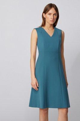 Kleid aus zweiseitigem, portugiesischem Stretch-Gewebe mit V-Ausschnitt, Türkis
