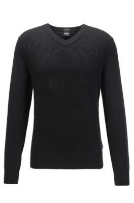 Pullover aus Baumwoll-Schurwoll-Mix, Schwarz