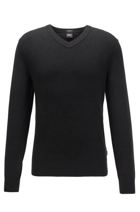 Pull Regular Fit en laine vierge et coton, Noir