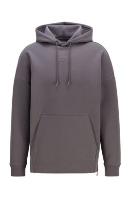 Unisex hoodie in stretch fabric with large rear logo, ダークグレー