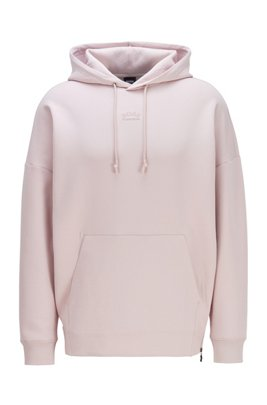 Unisex hoodie in stretch fabric with large rear logo, light pink