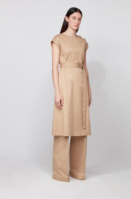 Vestito di lunghezza midi in cotone elasticizzato con bottoni, Beige