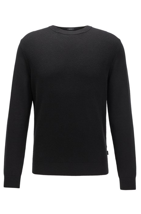 Knitted sweater in cotton and virgin wool, Black