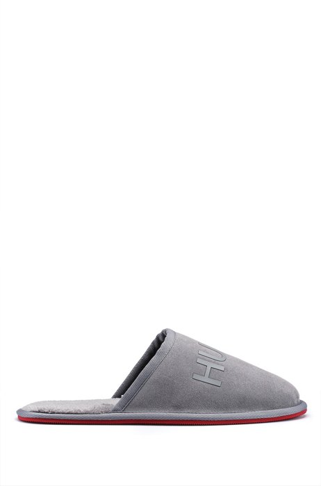 Suede slippers with faux-fur lining and tonal logo, Grey