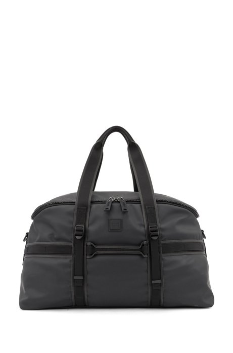 Water-resistant holdall in matte faux leather, Black