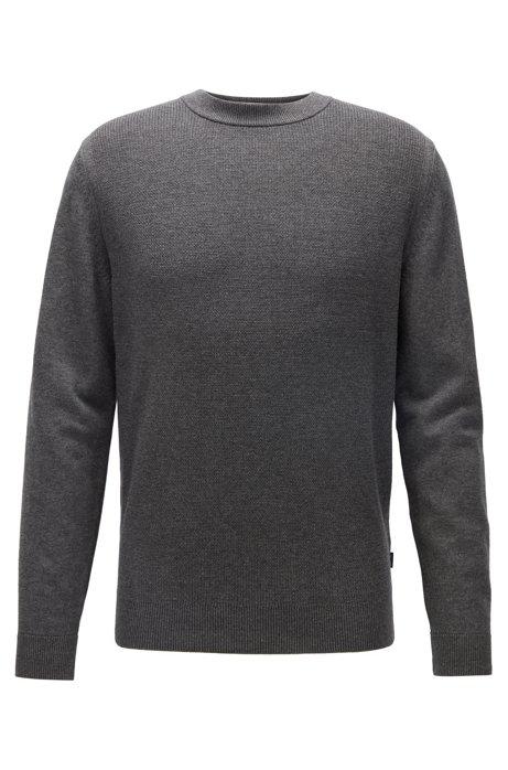 Maglione regular fit in cotone con cashmere, Grigio