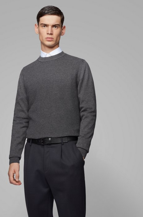 Regular-fit sweater in cotton with cashmere, Grey