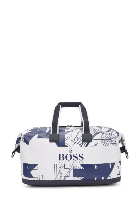 Structured-nylon holdall with Tokyo artwork, White