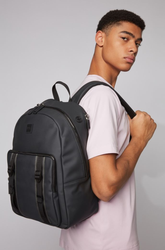 Water-resistant backpack in matte faux leather