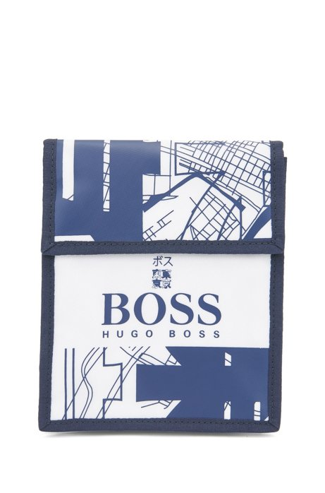 Structured-nylon pochette with Tokyo artwork, White