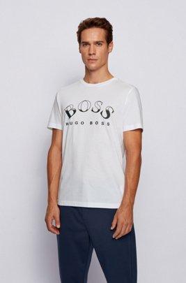 Camiseta de algodón africano con logo curvado estampado, Blanco