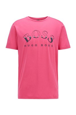 African-cotton T-shirt with curved-logo print, Pink