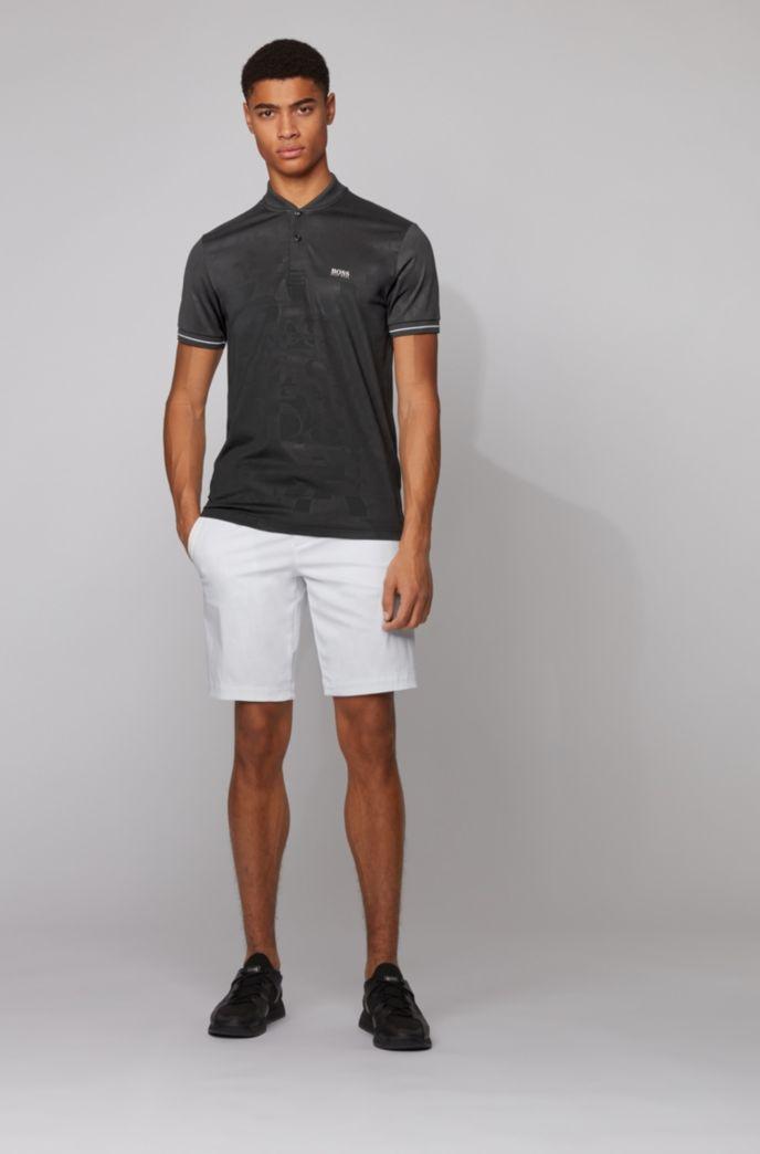 Cotton-blend polo shirt with tonal logo motif