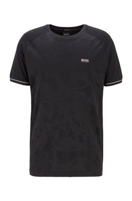 Cotton-blend T-shirt with tonal logo artwork, ブラック