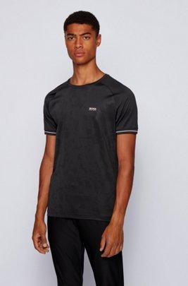 T-shirt en coton mélangé à logo artistique ton sur ton, Noir