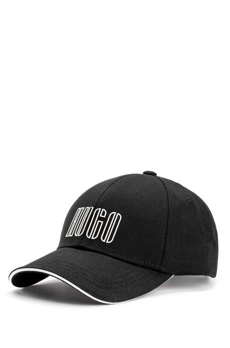 Gorra de sarga de algodón con un logo bordado de la nueva temporada, Negro