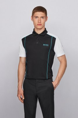 Colour-blocked polo shirt in ripstop fabric, Black