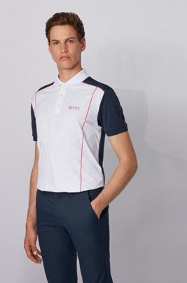 Colour-blocked polo shirt in ripstop fabric, White